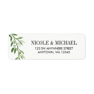 Green Watercolor Laurel Leaf Wreath Label