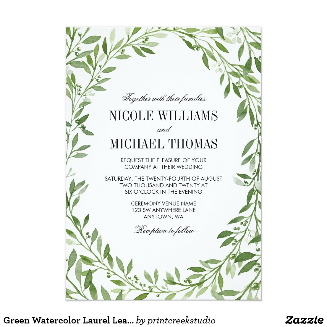 Greenery Wedding Invitation with Watercolor Laurel Wreath