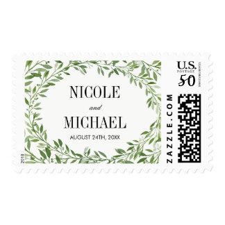 Green Watercolor Laurel Leaf Wreath Wedding Postage