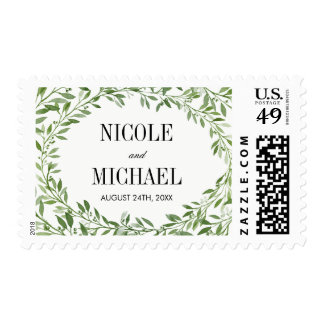 Green Watercolor Laurel Leaf Wreath Wedding Postage
