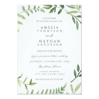 Green Watercolor Leaf Wedding Invitation