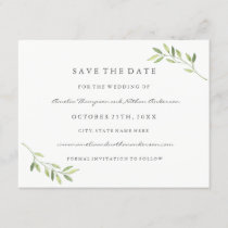 Green Watercolor Leaf Wedding Save The Date