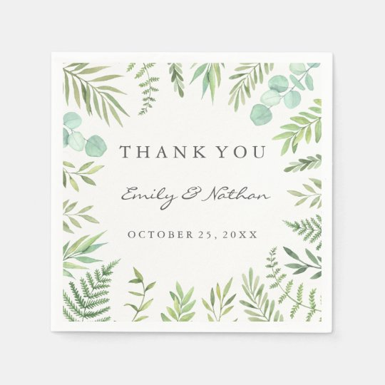 green watercolor leaf wreath wedding napkin zazzle com