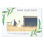 Green Watercolor Leaves and Photo | Save the Date Card