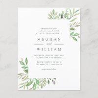 Green Watercolor Leaves & Greenery Wedding Invitation Postcard
