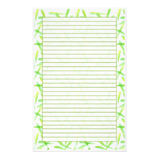 Green Watercolor Leaves Lined Stationery
