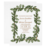 Green Watercolor Leaves White Gold Wedding Invite