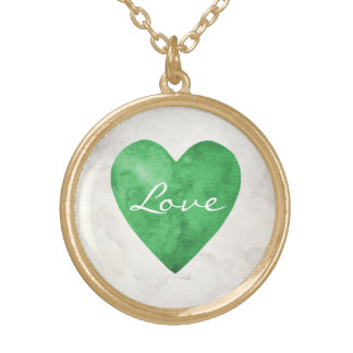 Green Watercolor Love Heart Gold Plated Necklace
