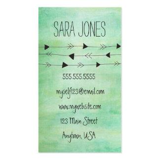 Green Watercolor Modern Arrows Business Card