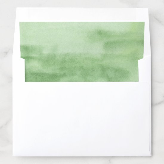 Green Watercolor Modern Envelope Liner
