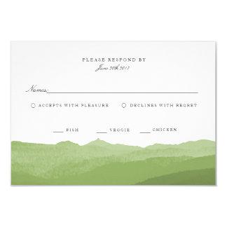 Green Watercolor Mountain RSVP Card