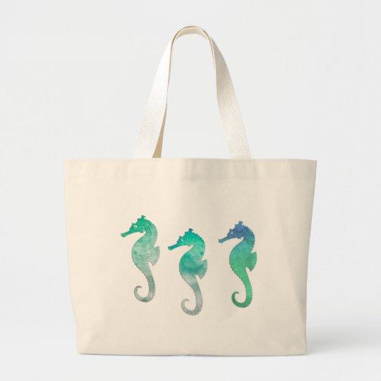 Green Watercolor Seahorses Large Tote Bag