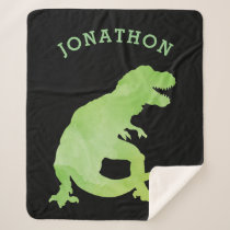 Green Watercolor Silhouette Dinosaur Kids Black Sherpa Blanket