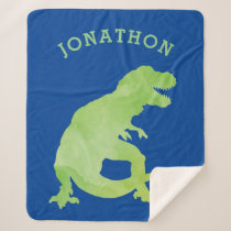 Green Watercolor Silhouette Dinosaur Kids Blue Sherpa Blanket
