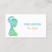 Green Watercolor Silhouette Hair Stylist Trendy Business Card