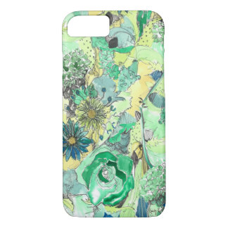Green Watercolor Sketched Blooms iPhone 7 case