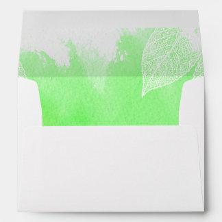 Green watercolor splash & skeleton leaves wedding envelopes