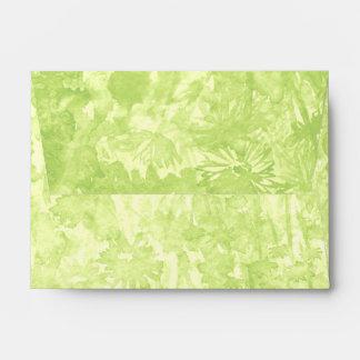 Green watercolor splash with flowers envelope