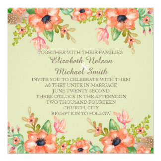 Green Watercolor Spring Flowers Wedding Invite