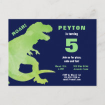 Green Watercolor T-Rex Dinosaur Birthday Party Invitation Postcard