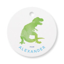 Green Watercolor T-Rex Dinosaur From Birthday Favor Tags
