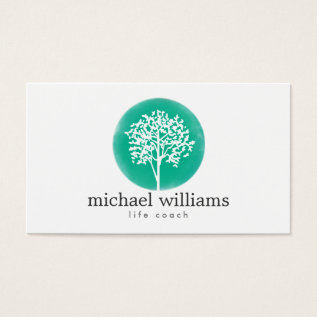 Green Watercolor Tree Life Coach, Counselors Business Card at Zazzle