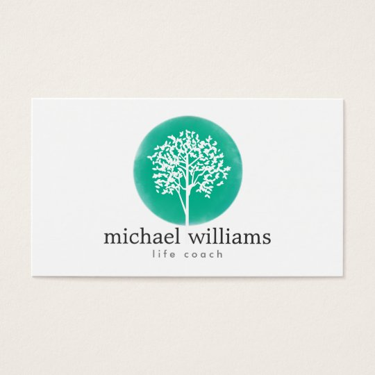 Green watercolor tree life coach counselors business card for Life coaching business cards