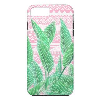 Green watercolor tropical leaf pink aztec pattern iPhone 8 plus/7 plus case
