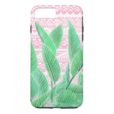 Aztec Themed Green watercolor tropical leaf pink aztec pattern iPhone 8 plus/7 plus case