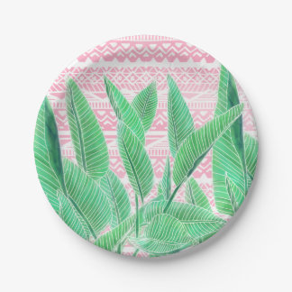 Green watercolor tropical leaf pink aztec pattern paper plate