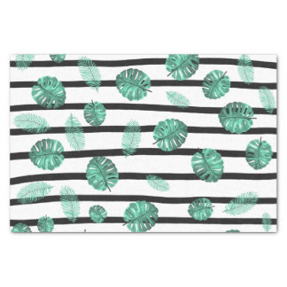 "Green watercolor tropical leaf stripes pattern 10"" x 15"" tissue paper"