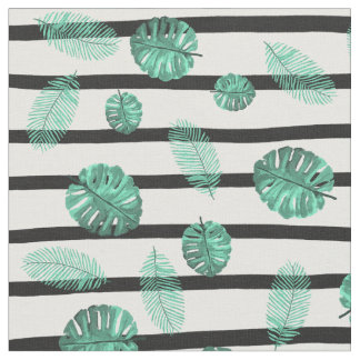Green watercolor tropical leaf stripes pattern fabric