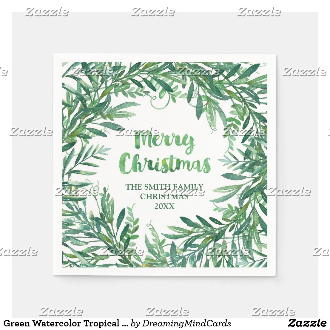 Green Watercolor Tropical Leaves Christmas Napkin