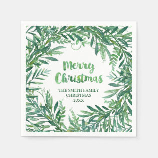 Green Watercolor Tropical Leaves Christmas Napkin at Zazzle