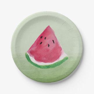 Green Watercolor Watermelon Paper Plate