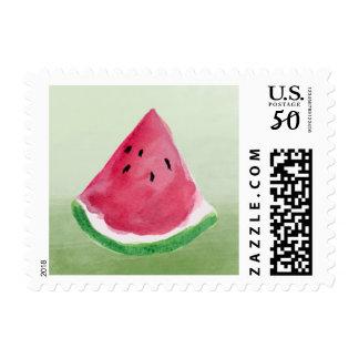 Green Watercolor Watermelon Postage