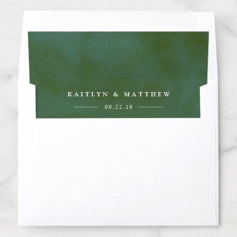 Green Watercolor Wedding Envelope Liner