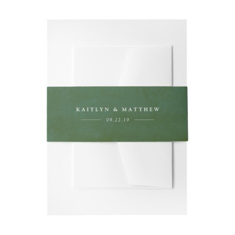 Green Watercolor Wedding Invitation Belly Band