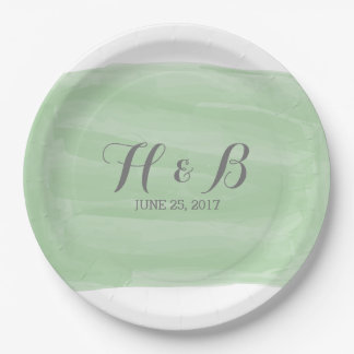 Green Watercolor Wedding Paper Plates 9 Inch Paper Plate