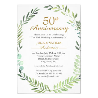 Green Watercolor Wreath 50th Wedding Anniversary Invitation