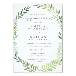 Green Watercolor Wreath Engagement Party Invite