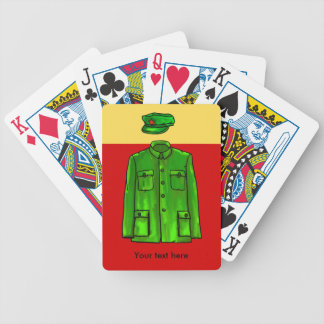 Green Watercolour Chairman Mao Coat and Hat Bicycle Playing Cards