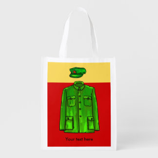 Green Watercolour Chairman Mao Coat and Hat Reusable Grocery Bag