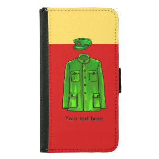 Green Watercolour Chairman Mao Coat and Hat Samsung Galaxy S5 Wallet Case
