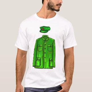 Green Watercolour Chairman Mao Coat and Hat T-Shirt