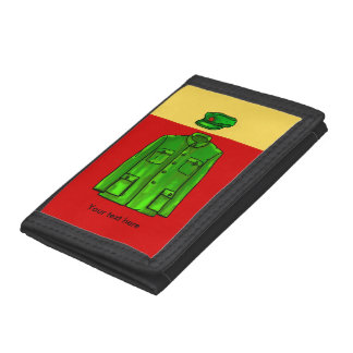 Green Watercolour Chairman Mao Coat and Hat Tri-fold Wallet