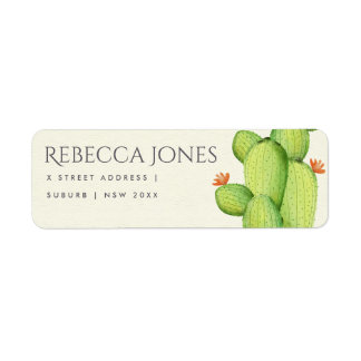 GREEN WATERCOLOUR DESERT CACTUS FLOWER  ADDRESS LABEL