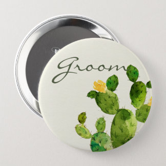 GREEN WATERCOLOUR DESERT CACTUS FLOWER  GROOM BUTTON