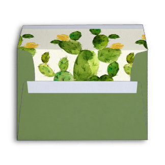 GREEN WATERCOLOUR DESERT CACTUS FLOWER  MONOGRAM ENVELOPE