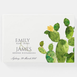 GREEN WATERCOLOUR DESERT CACTUS FLOWER  MONOGRAM GUEST BOOK